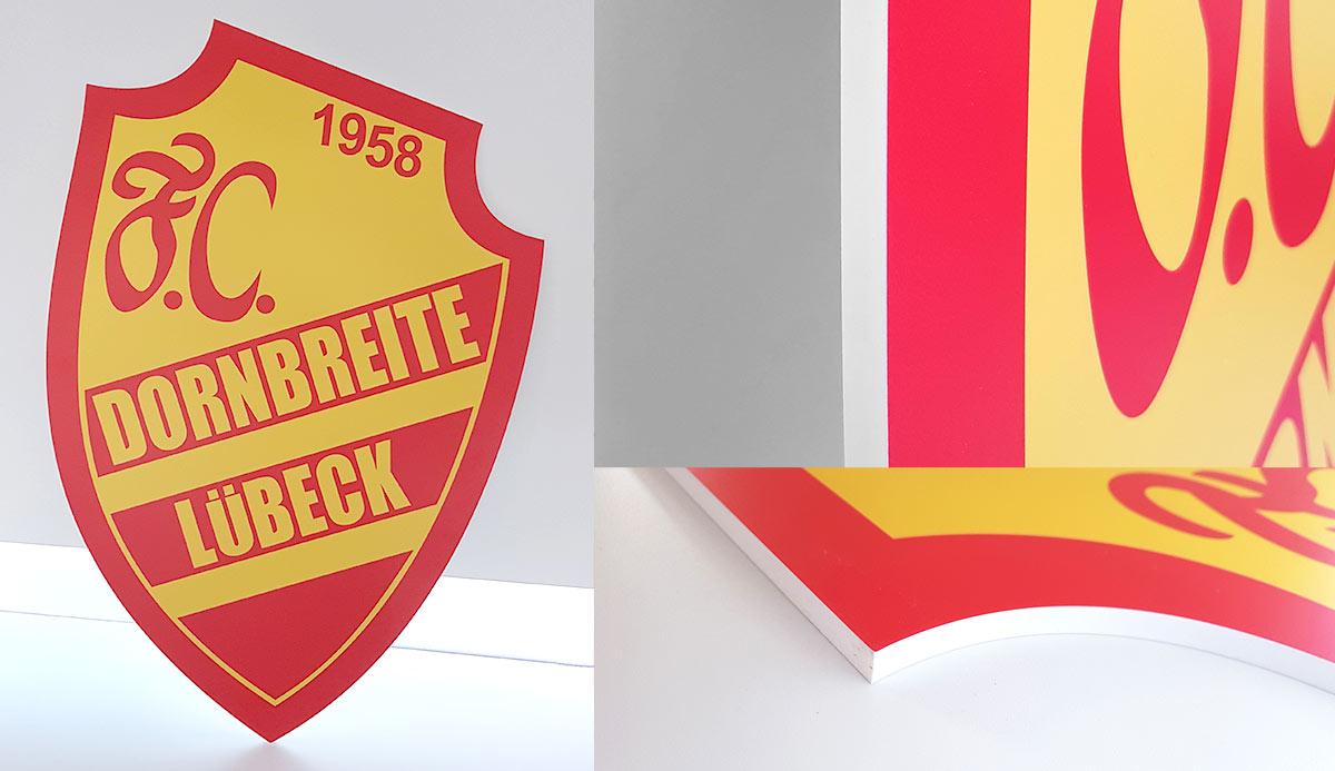 Referenz gefrästes Wappen FC Dornbreite Lübeck e.V.